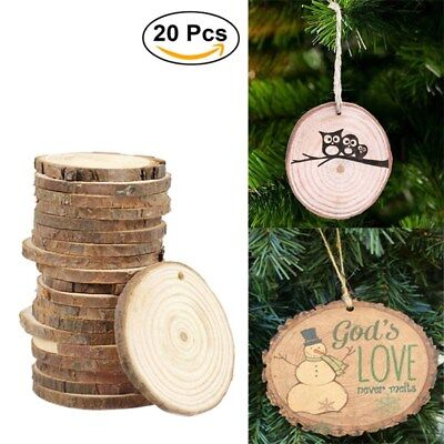 20/30X Wood Slices Round Disc Tree Bark Log Wooden Circles for Craft+10M Jute AU