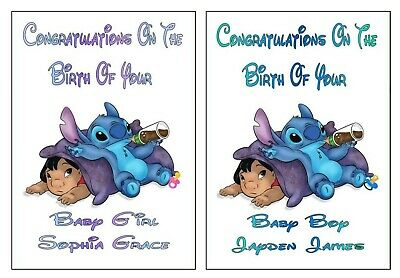 """Personalised Disney Inspired """"LILO & STITCH"""" New Baby Boy or Girl Cards"""