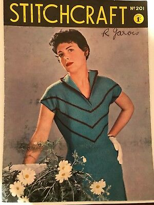 Vintage STITCHCRAFT MAGAZINE booklet No. 201 1950s Knit Crochet Sew Embroidery