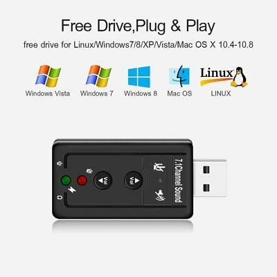 USB Audio Sound Card Adapter External 3D VIRTUAL 7.1CHANNEL For LAPTOP WIN 78 SU