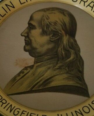 Vintage Benjamin Franklin Insurance Co. Tin Litho Tip Tray 1930's