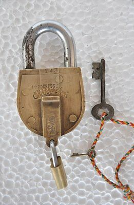 Old Brass Solid Heavy Handcarfted Unique Double System Padlock , Rich Patina