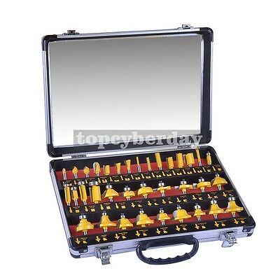 """35PCS Router Bits Set 1/4"""" Shank Tungsten Carbide Kit Tip Router Wood Working"""