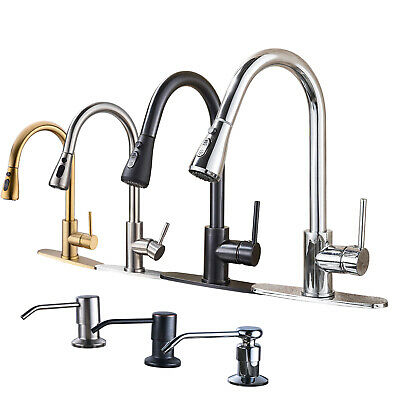 Swivel Stainless Steel Kitchen Sink Faucet Pull Out Spray Vanity Single Hole Tap