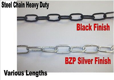 Steel chain heavy duty black or silver finish hot galvanised welded links