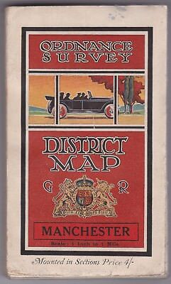 Very rare original 1924 O.S. 1 Inch to 1 mile map of Manchester, Dissected Linen