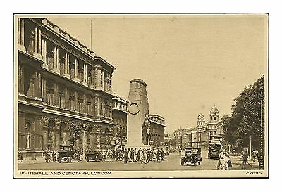 WHITEHALL AND THE CENOTAPH LONDON VINTAGE POSTCARD c 1920s-30s