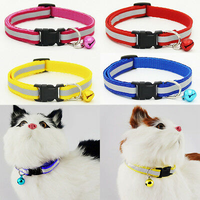 UK_ LC_ Adjustable Pet Cat Dog Puppy Reflective Collar Safety Buckle Bell Neck S