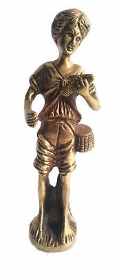 Atterect Vintage And Antique Brass Lady With A Fish in Hand Statue Ancient Lady
