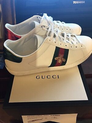 a29ac658b7e GUCCI WOMEN S ACE Lace Up w  Pearl Leather Studded Sneaker EU 38+ ...