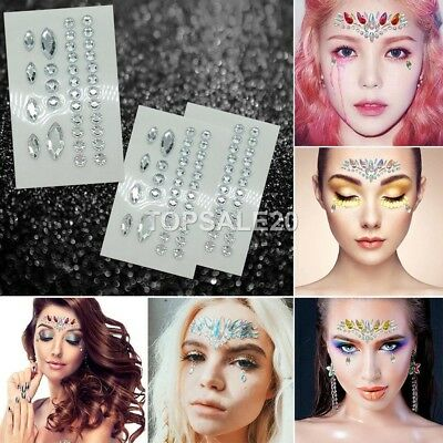 Adhesive Face Gems Rhinestone Jewels Party Body Glitter Sticker