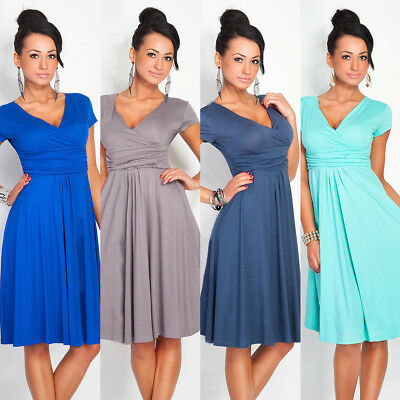 UK_ Pregnant Women Summer Comfy Maternity Dress Casual Loose V-Neck Pleated Dres
