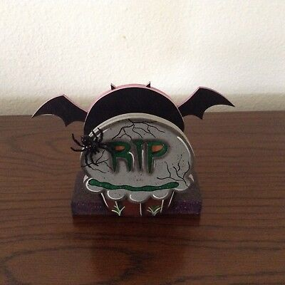 2 of 3 hp hand painted wooden halloween bat tomb napkin holder day of the death