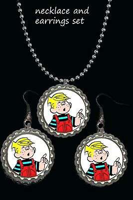 Dennis the menace earrings earring and necklace set great giftnostalgia