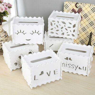 Cute Hollow Carved Wood Tissue Box Holder Case Home Office Desktop Decor Rakish