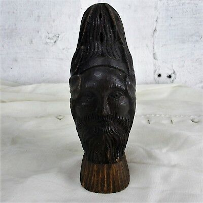 Antique Hand Carved Wood Reclaimed Corbel  Architectural  Head Staircase Finial