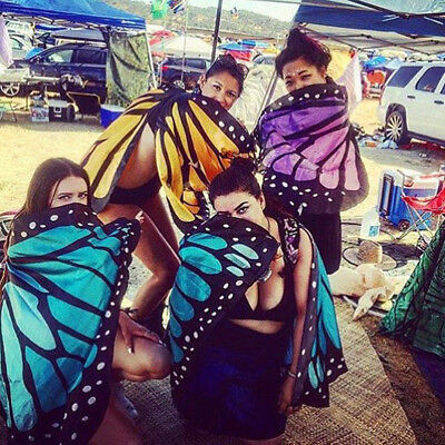 UK_ Colorful Soft Fabric Butterfly Wings Tippet Stole Scarf Ladies Fairy Costume