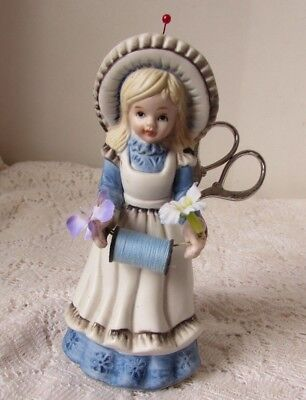 Vtg Porcelain Girl Figure Sewing Holder with Thread Spool, Needle & Scissors