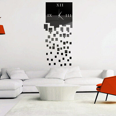 UK_ EG_ Modern DIY Roman Numbers Analog Square Mirror Wall Clock Sticker Home De