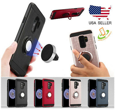 LG Stylo 4 / Plus Phone Case Armor Impact HYBRID Rubber Rugged Ring Stand Cover
