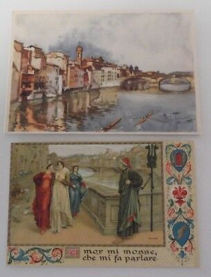Antique Lot of TWO Beautiful Florence ITALY Unused RARE  Postcards