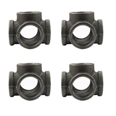 "4pack 1"" 5Way Cross TEE BLACK MALLEABLE IRON Fitting Pipe NPT Decor Style"