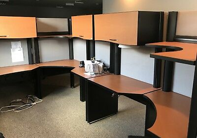 Large Five Section Workstation Cubicles Office Furniture