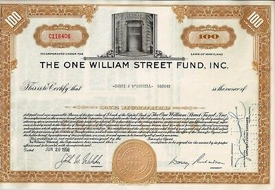 The One William Street Fund Inc. 1958 (Vignette Lehman Brothers) 100 Shares rar!