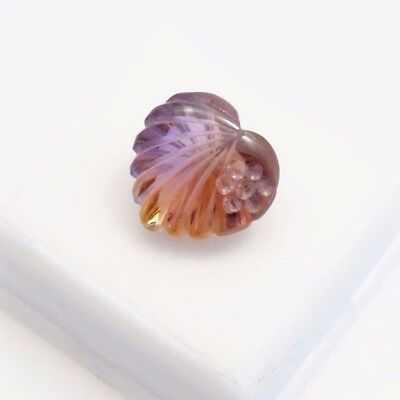 Ametrine - 12.70ct - 16X16mm -Carved Heart - Ametrine Loose Gemstone