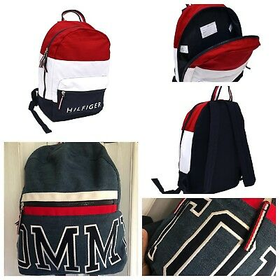 Tommy Hilfiger Backpack Canvas Small Book Bag 2 Pocket School Travel  Colorblock df18a44a21094