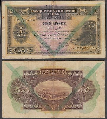 Syria 5 Livres 1939 (VG-F) Condition Banknote P-41d