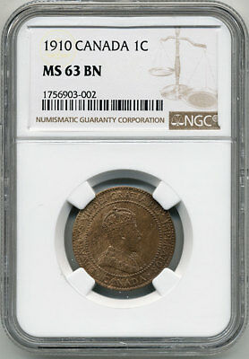 Canada King Edward Vii 1910 One Cent Ngc Ms63 Bn
