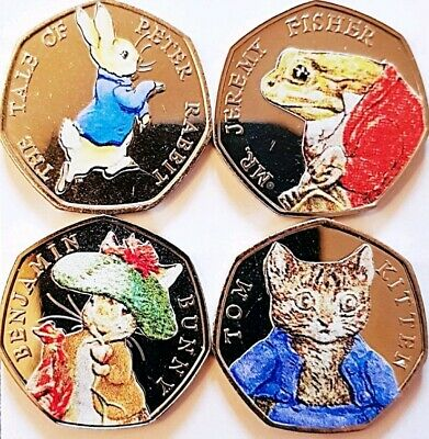 2017 Beatrix Potter 50p coin stickers decals high quality, colour x 96 stickers