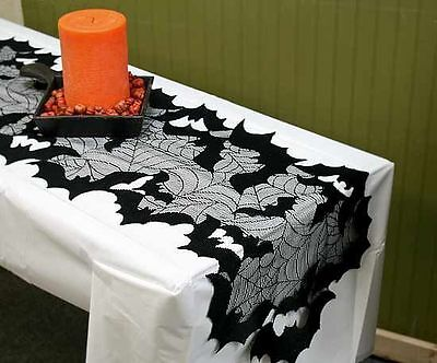 """Halloween Table Runner GOING BATTY by Heritage Lace GB-1448P 14"""" x 44"""""""