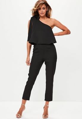 7033fa9b375e MISSGUIDED BLACK OVERLAY Jumpsuit Size 8 UK One Shoulder Bow Detail ...