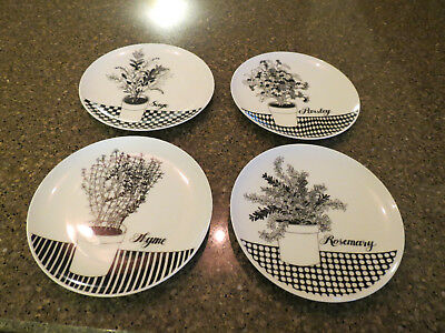 1976 Fitz and Floyd  Black And White Herb Dessert Plates
