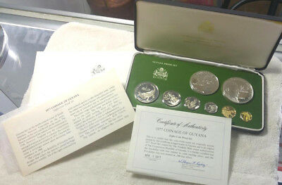 1977 Guyana 8 piece Proof Set - silver coins included - free shipping