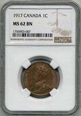 Canada 1917 One Cent Ngc Ms62 Bn (Some Red)