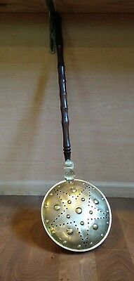 Antique Copper Bed Warmer with Star Design and Spindle Turned Handle