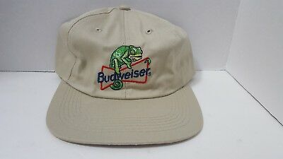 New Vintage Budweiser Frog Embroidered Snapback Cap Hat Tan