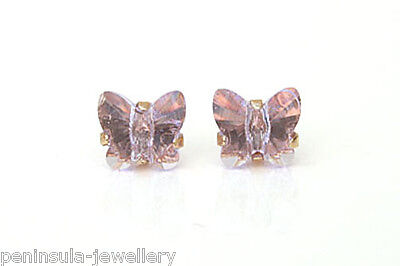 9ct Gold Lilac Crystal Butterfly stud Earrings Gift Boxed Studs Made in UK