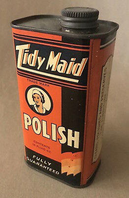 Vintage 1930s - 40s TIDY MAID Polish TIN Container with Lid