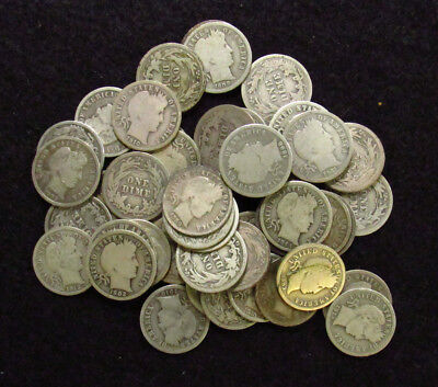 MIXED DATE/ MINT MARK Barber Dime GOOD+ PROBLEM FREE 50 Coin FULL ROLL