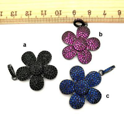 1pc  gold plated Cz micro Flower  Charm  Pendant  DIY Jewelry Findings