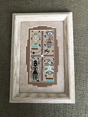 Vintage Authentic Native American Navajo Sand Painting By Artist Phoebe Tsosie
