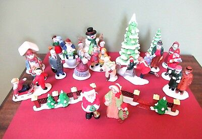 21 Assorted Porcelain Christmas Figurines - Lefton, Lemax, Dept. 56, other; used