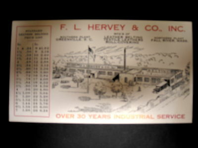 F L Hervey Co of Fall River, MA & Greenville, SC, industrial belts size & price