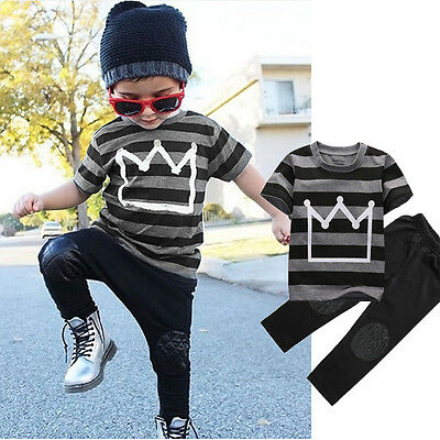 Toddler Kids Baby Boys T-shirt Tops Pants Trousers Tracksuit Clothes Set Outfits
