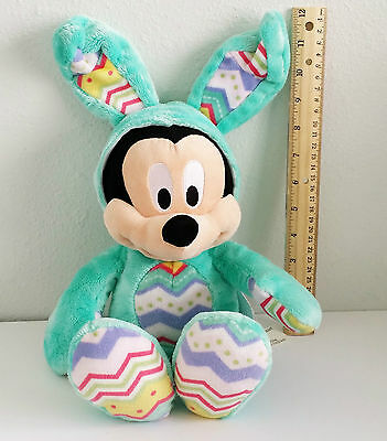 """Disney Store Mickey Mouse Easter Plush Toy 12"""" Seated Green Pink Red Stripes"""