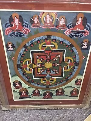 "Tibetan Thangka Antique Buddha Silk Painting Very-Old In New Framed 31""x26"""